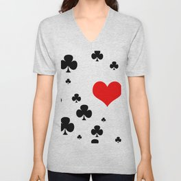 Red Heart in love with clubs of power Unisex V-Neck