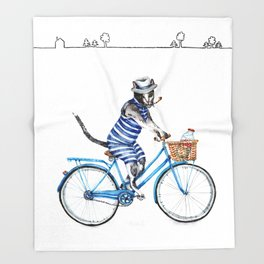 Cat on a Blue Bicycle Throw Blanket