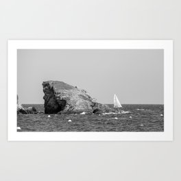 island and boat Art Print