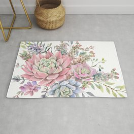 succulent watercolor 9 Rug