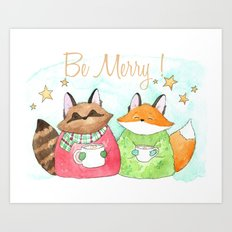 Be Merry! Coffee, cocoa, tea lovers print Art Print