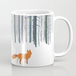 Fox in the white snow winter forest illustration Coffee Mug