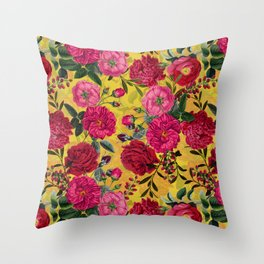 Vintage & Shabby Chic - Summer Tropical Roses Flower Garden Throw Pillow