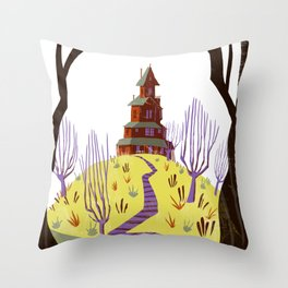 Lone House on the Hill Throw Pillow