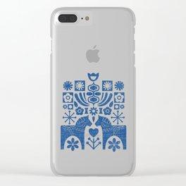 Swedish Folk Art - Blue Clear iPhone Case