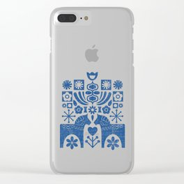 Swedish Folk Art - Blue Clear iPhone Case