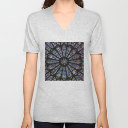 STAINED GLASS Notre Dame Cathedral Paris France Unisex V-Neck