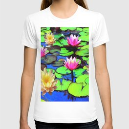 PINK & YELLOW WATER LILIES POND T-shirt