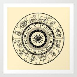 Hand Drawn Zodiac Map Art Print