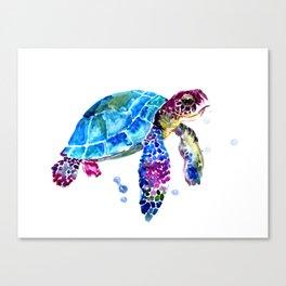 Sea Turtle, Blue Purple Turtle illustration, Sea Turtle design Canvas Print