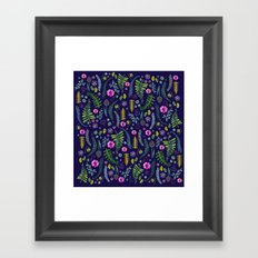 Ferns and Flowers Blue Framed Art Print
