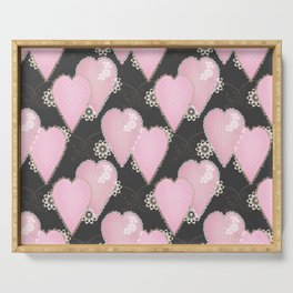Retro . Applique. Textile pink hearts on a grey background . Patchwork . Serving Tray