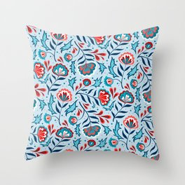 Floral Roma (Blue/Red) Throw Pillow
