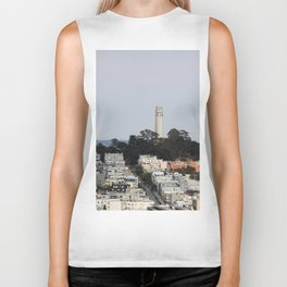 Streets Of San Francisco With Coit Tower Biker Tank