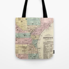 Vintage Map of Milwaukee Wisconsin (1878) Tote Bag