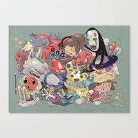 hayao miyazaki Canvas Prints featuring Hayao Miyazaki by Kensausage