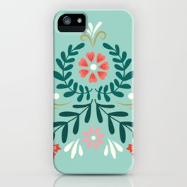 Floral Folk Pattern iPhone Case