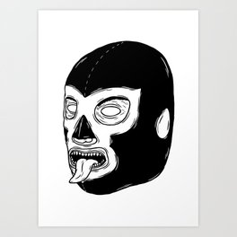 Black Luchador Art Print