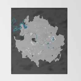 Austin Texas Minimalist Map (Dark) Throw Blanket