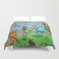 finn and jake Duvet Covers featuring Finn and Friends by Li'l Red Designs