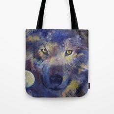 Grey Wolf Moon Tote Bag