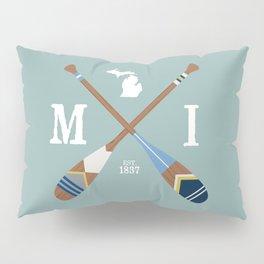 Paddle MI, Michigan Lake Life Painted Oars Pillow Sham