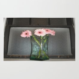 pink daisies ~ flowers on vintage sill Rug