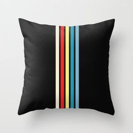 Five Trendy Colorful Stripes on Black 16 Throw Pillow