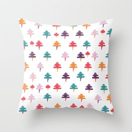 Colorful trees for colorful year Throw Pillow