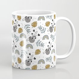 Sweet baby sloth kawaii boys jungle leaves pattern ochre green Coffee Mug