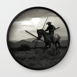 Santa Fe Cowboy on Horse Wall Clock