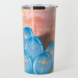 Blue eggs and crosses on pastel textured background Travel Mug