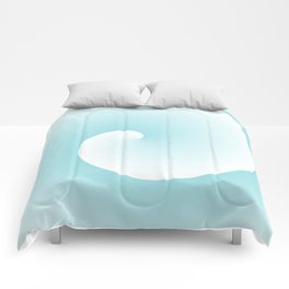 Wave, in white and blue Comforters