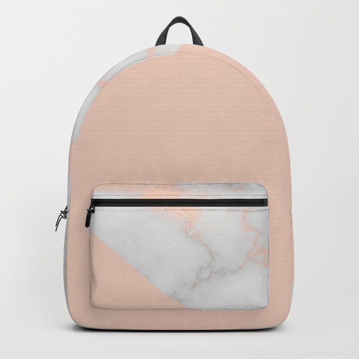 Rose gold marble and soft blush pink Backpack