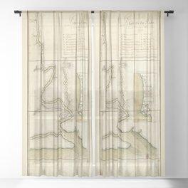 Plan de la riuiere de Suriname (1713) Sheer Curtain