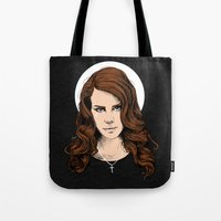 lana Tote Bags featuring LANA. by paintparamore