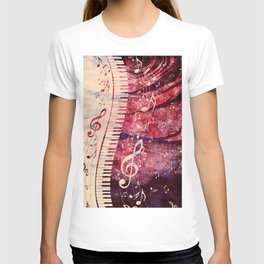 Illustration of a piano keys with musical notes and red rose T-shirt