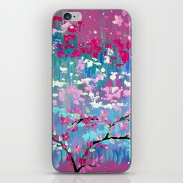 Cherry Blossoms on Abstract Print iPhone Skin