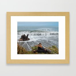 Sea and driftwood mix it up Framed Art Print