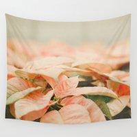 peach Wall Tapestries featuring Peach Poinsettias  by Pure Nature Photos