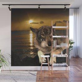 Dog German Shepherd and Sunset Wall Mural