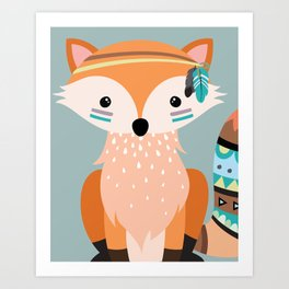 tribal fox girl Art Print