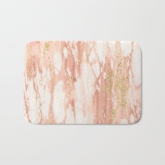 Rose Gold Marble - Rose Gold Yellow Gold Shimmery Metallic Marble Bath Mat