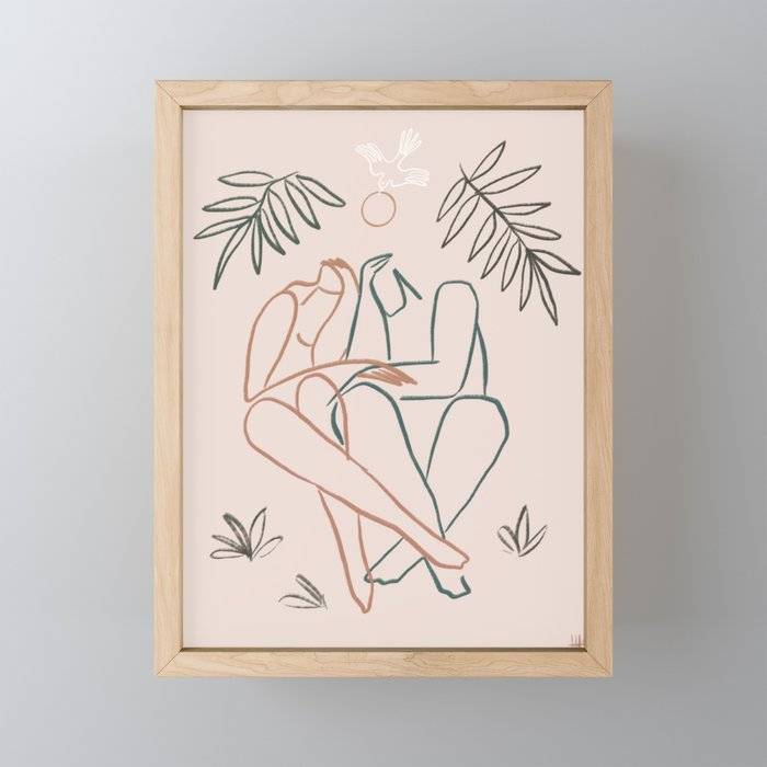 Lovebirds Framed Mini Art Print