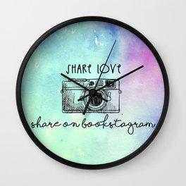 SHARE LOVE . SHARE ON BOOKSTAGRAM Wall Clock