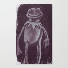 Kermit the frog in charcoal. Canvas Print