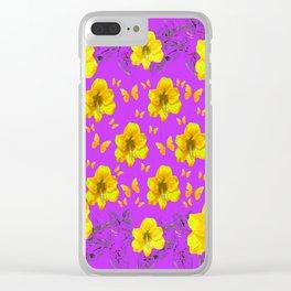 YELLOW AMARYLLIS FLOWERS & BUTTERFLIES PURPLE ART Clear iPhone Case