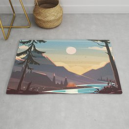Mountain Sunset Illustration Rug
