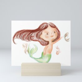 Playing mermaid Mini Art Print
