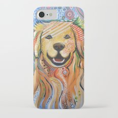 Max ... Abstract dog art, Golden Retriever iPhone 7 Slim Case
